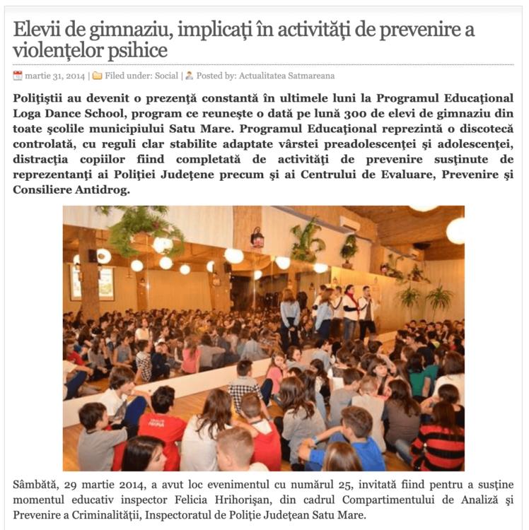 Elevii de gimnaziu, implicati in activitati de prevenire a violentelor psihice! (actualitateasm.ro)