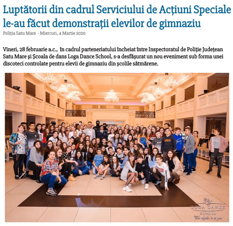 Luptatorii din cadrul Serviciului de Actiuni Speciale le-au facut demonstratii elevilor de gimnaziu (satumareonline.ro)