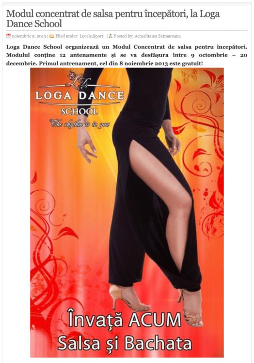 Modul concentrat de salsa pentru incepatori, la Loga Dance School. (actualitateasm.ro)