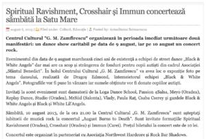 Spiritual Ravishment, Crosshair si Immun concerteaza sambata la Satu Mare. (actualitateasm.ro)