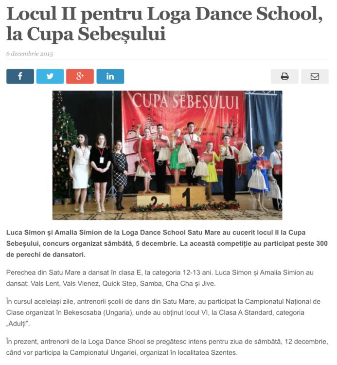 Locul II pentru Loga Dance School, la Cupa Sebesului. (satmareanul.net)