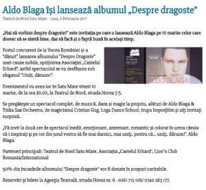 "Aldo Blaga isi lanseaza albumul ""Despre dragoste"" (satumareonline.ro)"