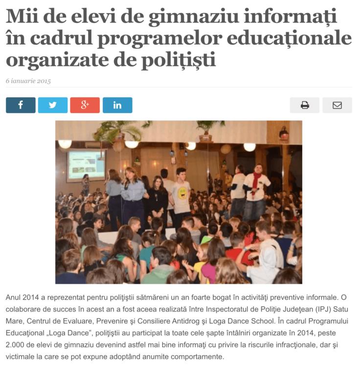 Mii de elevi de gimnaziu informati in cadrul programelor educationale organizate de politisti. (satmareanul.net)