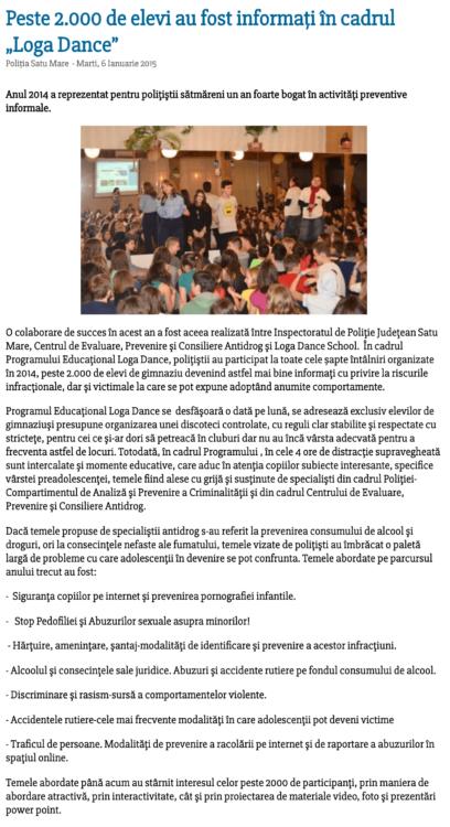 Peste 2.000 de elevi au fost informati in cadrul scolii de dans Loga Dance School (satumareonline.ro)