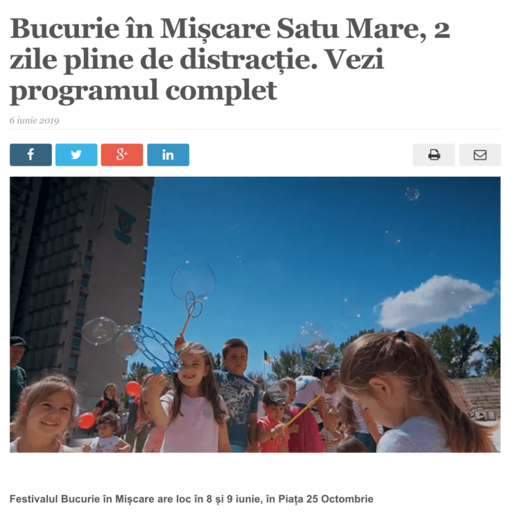 Bucurie in Miscare Satu Mare, 2 zile pline de distractie. Vezi programul complet. (satmareanul.net)