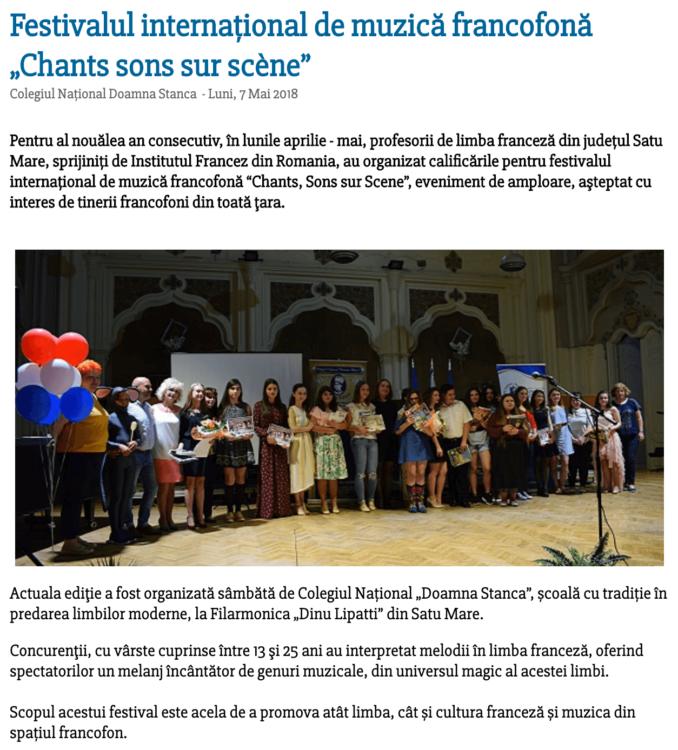 "Festivalul international de muzica francofona ""Chants sons sur scene"" (satumareonline.ro)"
