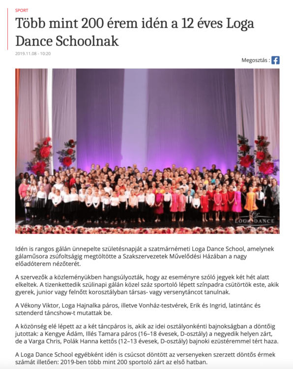 Tobb mint 200 erem iden a 12 eves Loga Dance Schoolnak (frissujsag.ro)