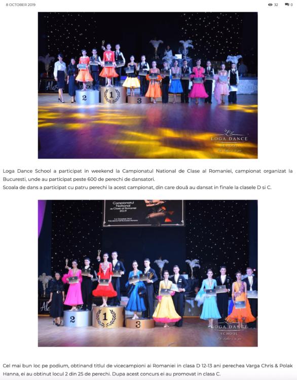 Loga Dance School la Campionatul National de Clase al Romaniei (gazetanord-vest.ro)