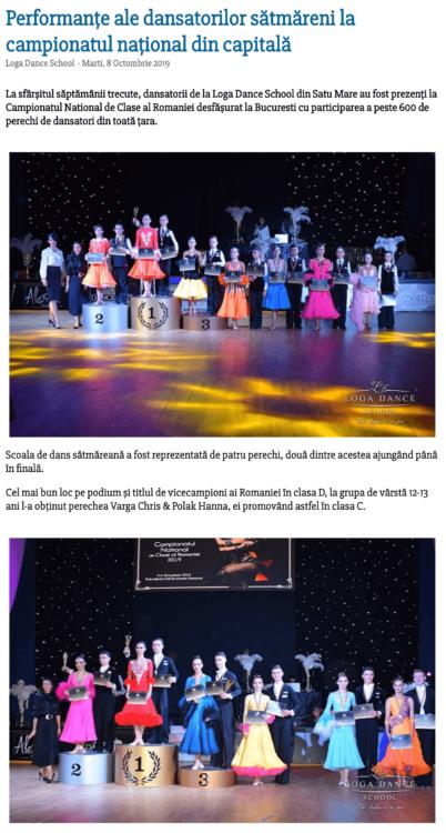 Performante ale dansatorilor satmareni la campionatul national din capitala (satumareonline.ro)