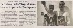 Perechea Erik & Ingrid Vonhaz de la Loga Dance School a obtinut locul 1 la Budapesta (Gazeta de Nord Vest)